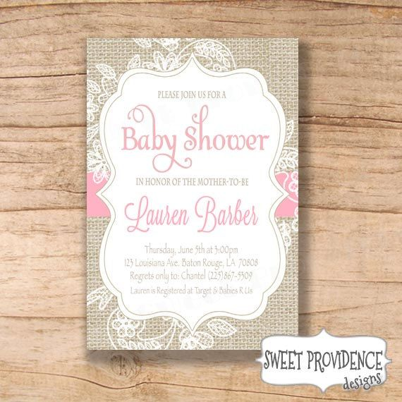 Burlap and Lace Baby Shower Invitation / Pink by SweetProvidence, $16.00