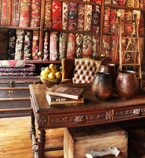 A shop carrying Turkish rugs in Istanbul.  Such beautiful colors and patterns.