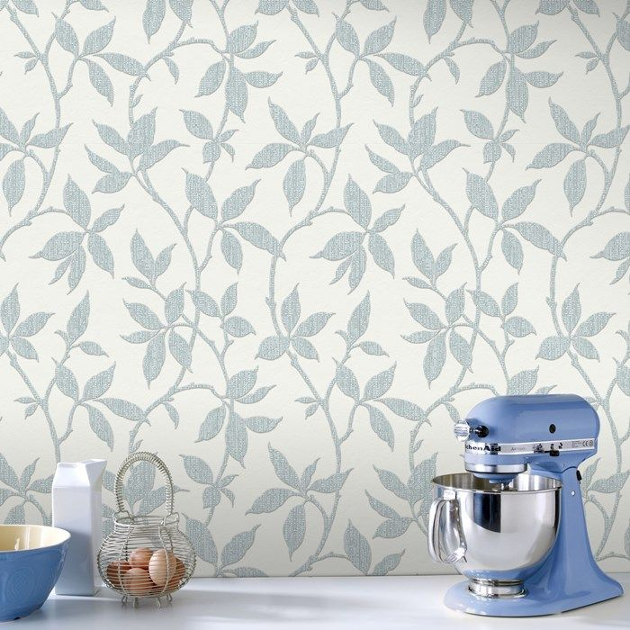 Elisa Duck Egg Wallpaper by Graham and Brown
