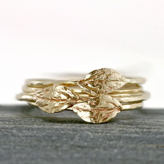 Gold Leaf Ring 14k Yellow Gold Stacking Ring by ScarlettJewelry, $148.00