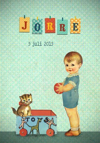 Geboortekaartje Jorre - Pimpelpluis - https://www.facebook.com/pages/Pimpelpluis/188675421305550?ref=hl (# retro - jongen - speelgoed - kat - bal - vintage - paper doll - lief - schattig - origineel)
