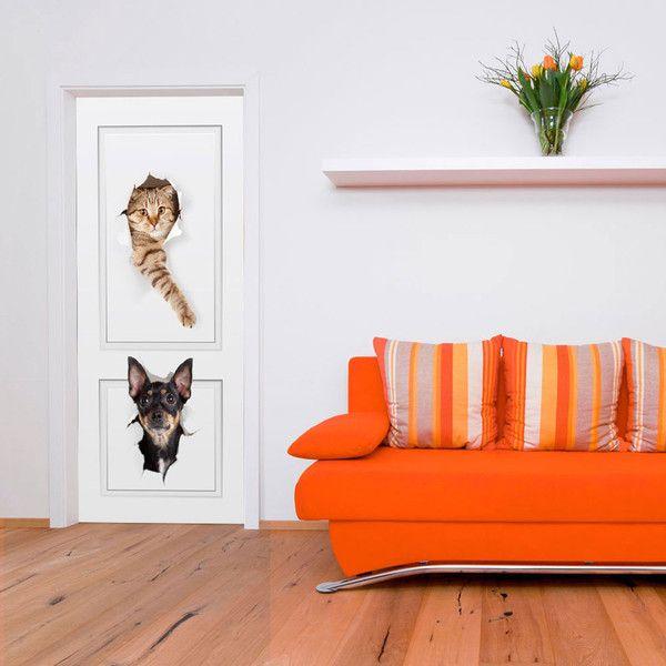 Tapeta na drzwi 100x210 pies i kot 101005-21 - artgeist - Dekoracje #design #tapeta #wallpaper #door #art #cat #dog