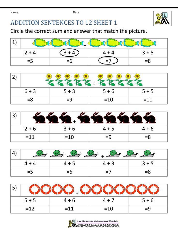 Addition Worksheet Sentences in 2020 First grade