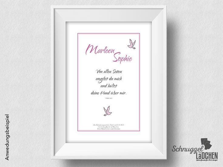 Taufbild Taufspruch – Taube pink von Schnuggellaedchen auf DaWanda.com