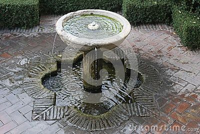 Small spain from alcazaba malaga detail fortification artesian flowing architecture water fountain