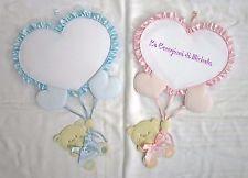 """Fiocchi nascita Cuore con orsetto """"rosa"""" +ricamo nome punto croce"""