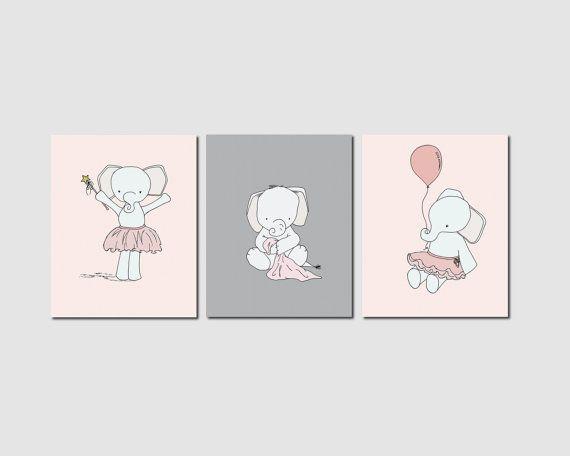 Pink and Grey Nursery Art, Elephant Nursery Art Prints, Girl Nursery Decor, Elephants, Set Of 3 Print, Kids Wall Art