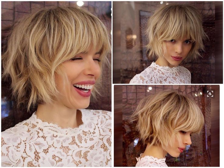 Layered bob with some fringe/bang. Could be pretty versatile.
