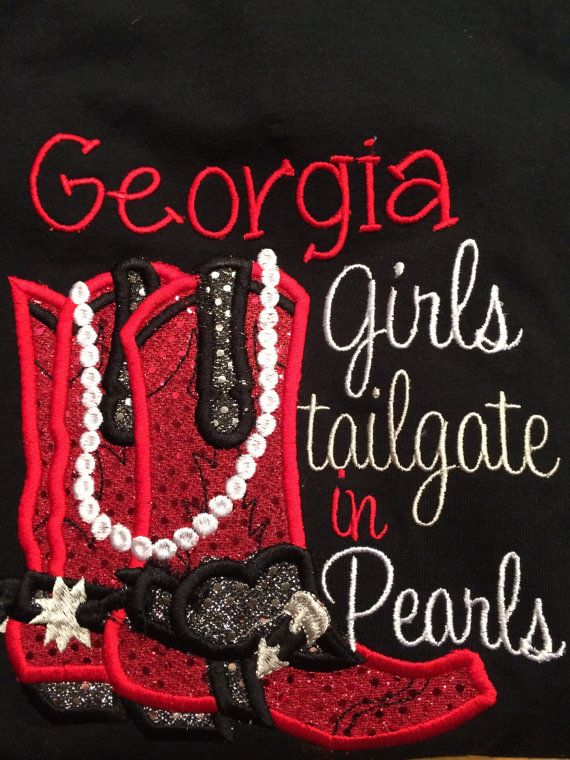 Georgia Girls Tailgate in Pearls Long Sleeved by Rags2StitchesGA