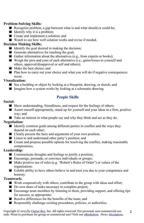 My Works Skills List for Jen Career Key – Independent Living Skills Worksheets