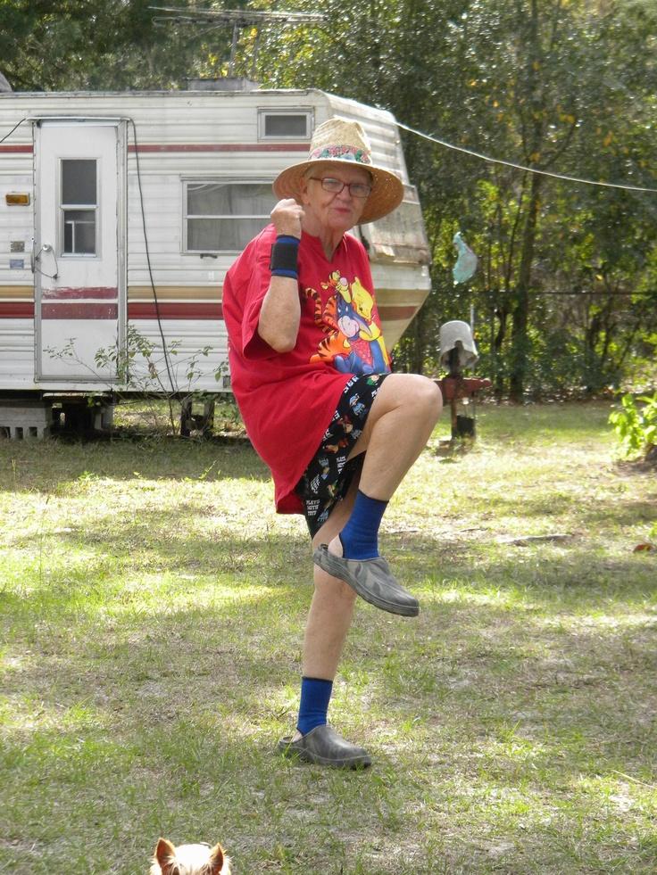 Super Grandma she even has her camper in the background!