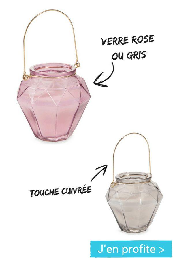 J'en profite pour mettre en scène ma table basse !  bougie lanterne en verre rose ou gris Facettes Maisons du Monde  http://www.homelisty.com/soldes-maisonsdumonde-hiver-2017/