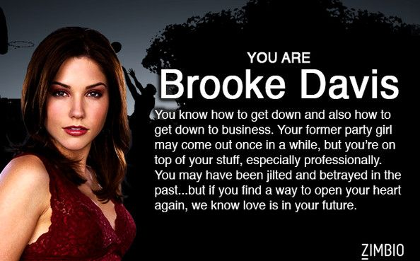 I'm Brooke Davis! Which 'One Tree Hill' character are you? #ZimbioQuiz