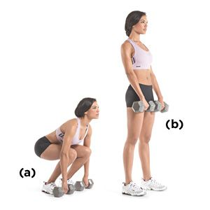 A Set a pair of dumbbells on the floor in front of you. Bend at your hips and knees, and grab the dumbbells with an overhand grip.    B Without allowing your lower back to round, stand up with the dumbbells, thrusting your hips forward. Lower the dumbbells to the floor. That's one rep.
