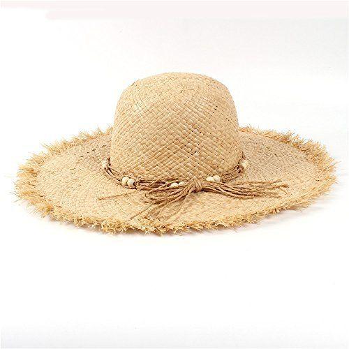 f960d765f02 LFLING 11CM Wide Brim Raffia Summer Women Lady Beach Sun Hat for Queen  Tassel Dome Seaside Trave Bucket Sun hatGarland Sunbonnet Item Type sun Hats  ...