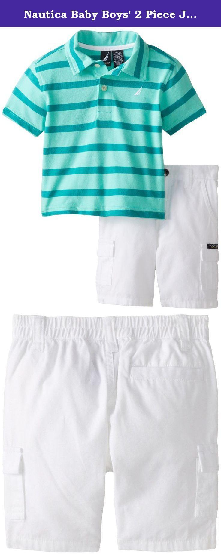 Nautica Baby Boys' 2 Piece Jersey Polo with Cargo Short, Aqua Isle, 12 Months. 2 piece jersey polo with coordinating cargo short.