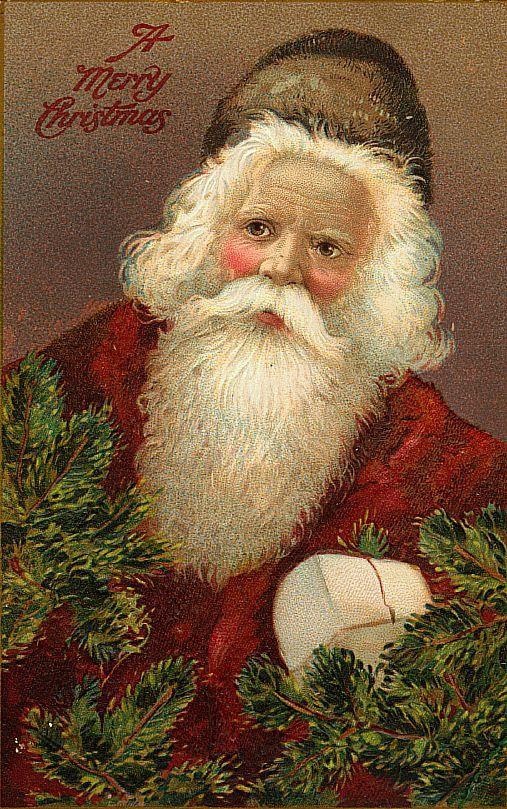 Vintage German Santa Postcard ... what a lovely face!