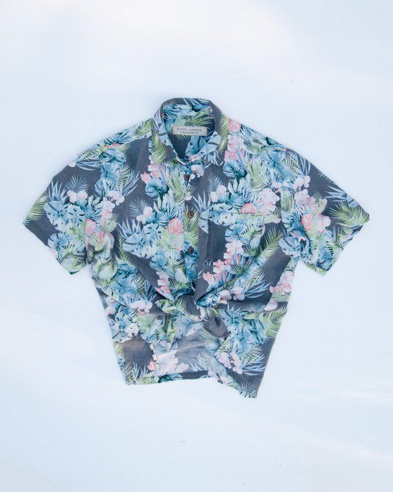 11a726d328b Vintage Silk Blue Pink Grey Hawaiian Shirt Island Republic M ...