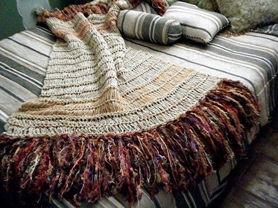 Southwestern Throw Blanket Orange Brown Home by CricketsCreations, $