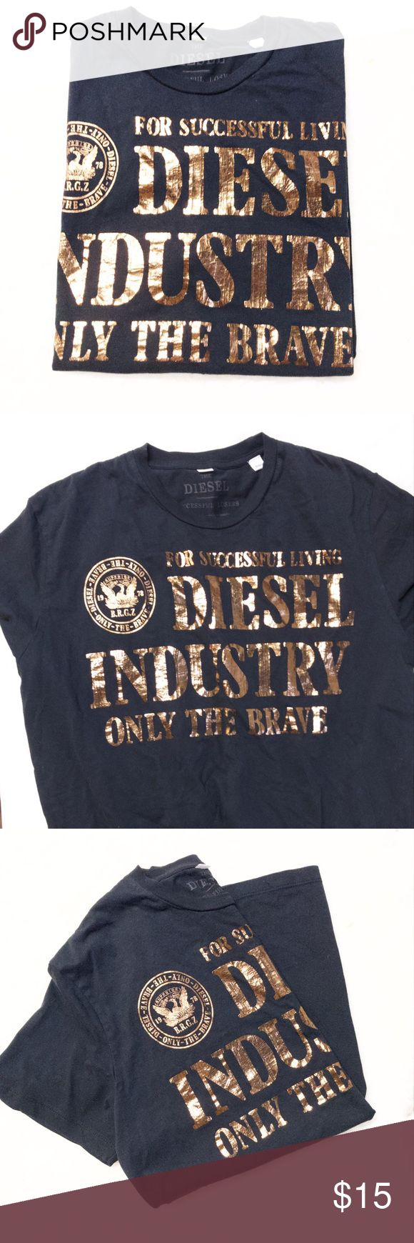 Large black and gold Diesel T-Shirt Great condition, no flaws, measurements included in pictures.  No trades Diesel Shirts Tees - Short Sleeve