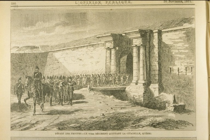 ''Départ des troupes-Le 60ème Régiment quittant la Citadelle''  par L'opinion publique, 30 novembre 1871 Par: Catherine St-André  #quebec #history #citadelle