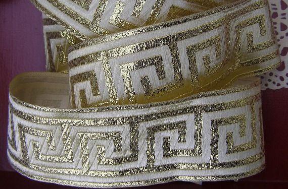 large galon médiéval 1m x 7 cm motifs grec doré sur fond doré