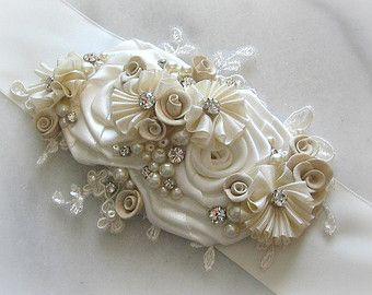 Encaje nupcial Faja de plata luz gris boda vestido faja
