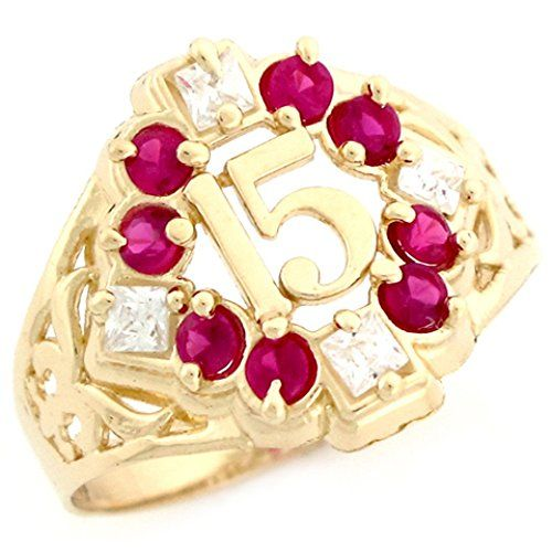 10k Yellow Gold Simulated Ruby CZ Fancy Quinceanera 15 An...