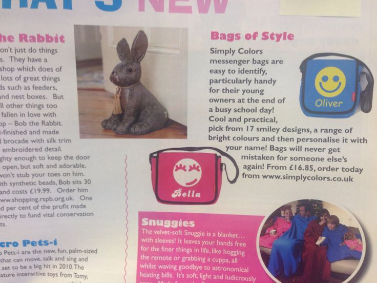 "Simply colors bags as featured in ""primary times"""