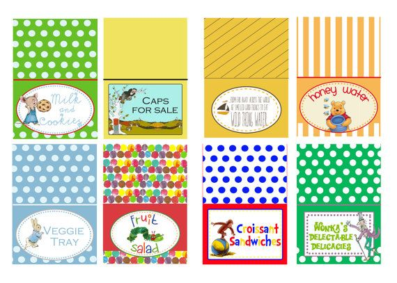 book themed baby shower food tents by