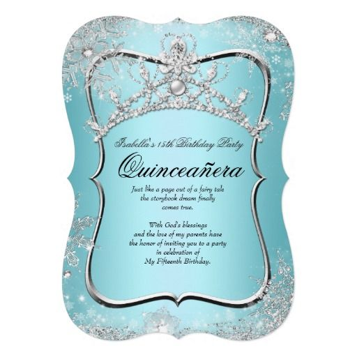Quinceanera 15th Winter Wonderland Silver Blue Custom Announcement