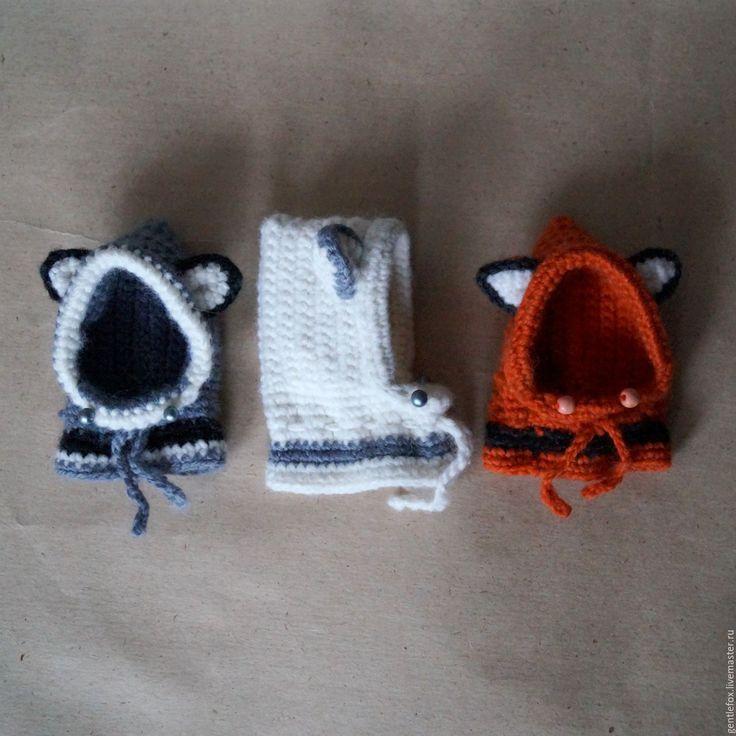 Купить Капюшоны с ушками (зверошапки) для кукол: рыжая лиса, белая лиса, енот - рыжий, белый
