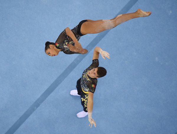 Ines Germano and Joao Fernandes Coimbra Martins of Portugal compete in the Gymnastic Acrobatic Mixed Pair Dynamic Qualification  during day five of the Baku 2015 European Games at the National Gymnastics Arena on June 17, 2015 in Baku, Azerbaijan.