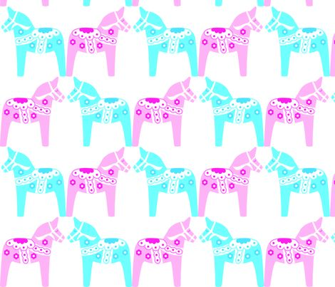 Dalahorse Blue  & Pink fabric by susie-lotta_designs on Spoonflower - custom fabric Swedish dala horses, dalahästar
