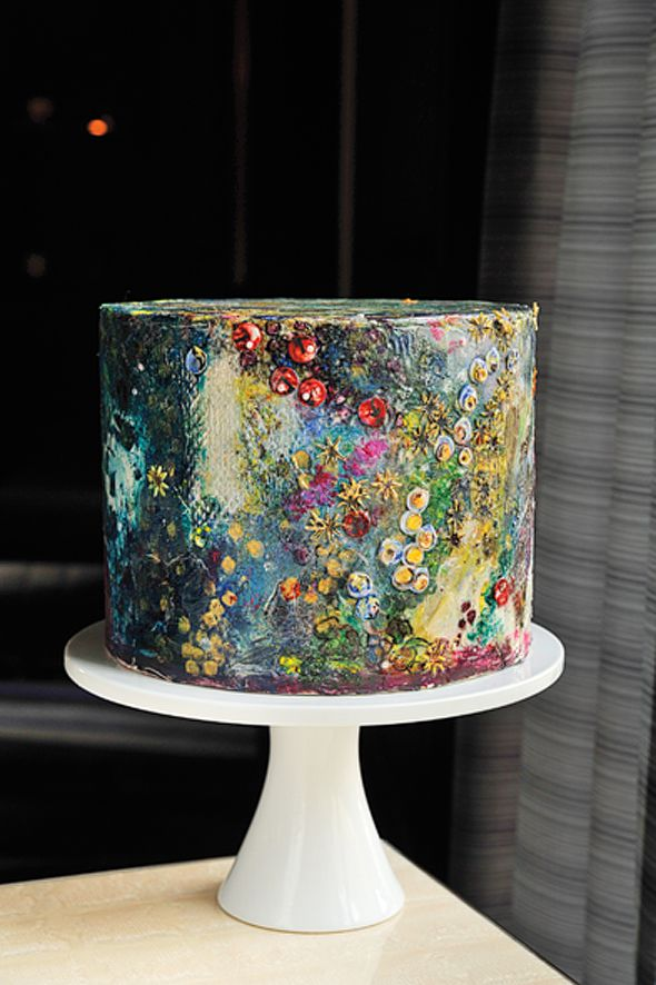 Hand-painted cake inspired by contemporary glass artisan Josh Simpson. Maggie Austin Cake