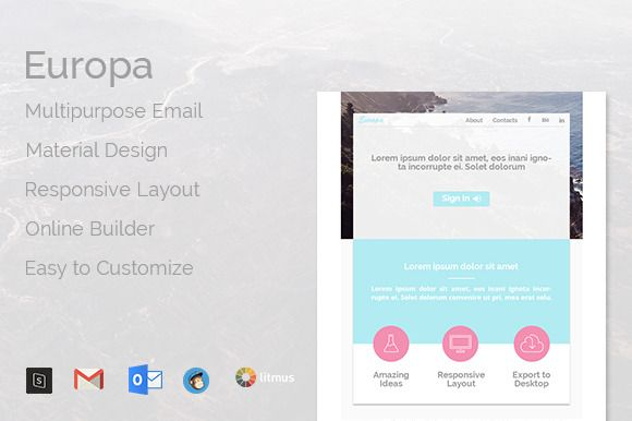 Europa -Multipurpose Email Template by Doctype_Party on Creative Market