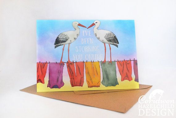 Storking You Online Greeting Card Blank Card Anniversary Card New Birth Card Valentines Card Pun Card by ceridwenDESIGN http://ift.tt/2b8Ku2c
