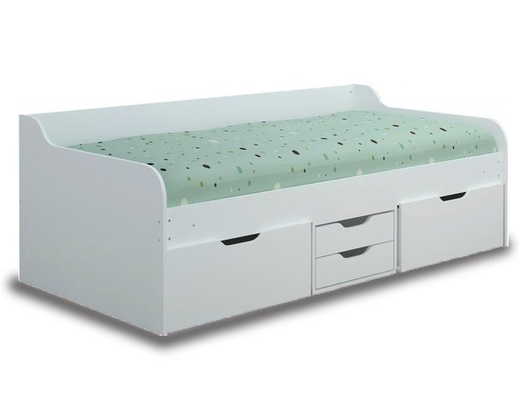 Compact white bed frame with under bed storage compartments.Very versatile. FREE  Delivery. Mattress sold Separately.