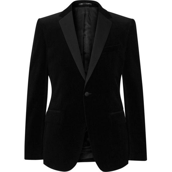 Maximus BLACK VELVET BLAZER (£350) ❤ liked on Polyvore featuring outerwear, jackets, blazers, black velvet blazer, velvet jacket, black velvet jacket, black jacket and velvet blazer