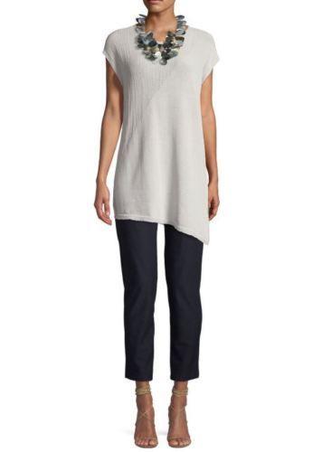 7f07cf5d949 Eileen-Fisher-Bone-Asymmetrical-Hem-Organic-Cotton-Blend-Cord-Tunic-Top-XL