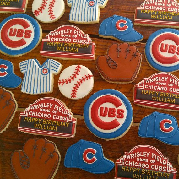 Chicago Cubs baseball Cookies by TheTreatsbyTrishShop on Etsy