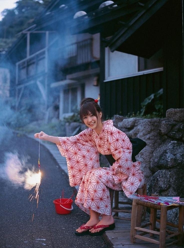 woman in yukata with sparklers | japanese culture #kimono