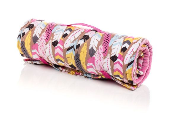 Native Feathers Pink Girl Nap Mat / Sleeping Mat. Preschool mat, kindergarten mat, day care mat, sleeping bag. With full size minky blanket and built in pillow. Machine Washable. USA Made by Elonka Nichole