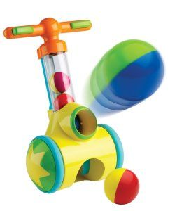 TOMY Pic 'n' Pop Walker At the click of a button, he/she can shoot a colorful plastic ball into the air. He/she chases after it and rolls the blaster over it like a vacuum to pick it up.  http://awsomegadgetsandtoysforgirlsandboys.com/cool-toys-toddlers/