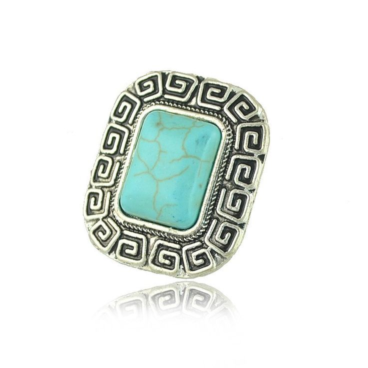 2017 Vintage Bohemian Geometric Rectangle  Ring For Women Antique Silver Alloy Carving Ring Fashion Jewelry
