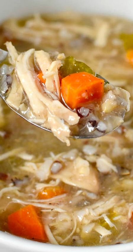 """Crock Pot Chicken and Wild Rice Soup ~ Simple and comforting... Simply add fridge and pantry staples into the crock pot then push """"on""""!"""