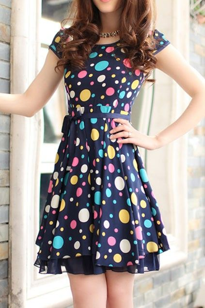 OASAP - Sweet Polka Dot Bound Waist Dress - Street Fashion Store...add another layer at the bottom to make it longer..