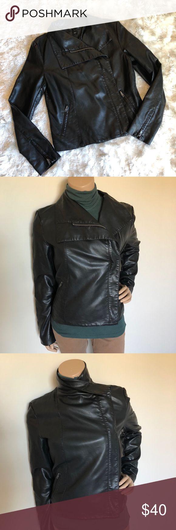 BAGATELLE Moto Zip Vegan Leather Jacket Bagatelle