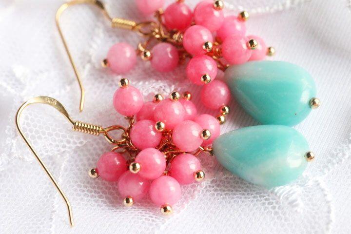 Orecchini lunghi orecchini di cluster, luce blu pietra Amazzonite, luce rosa rosa oro placcato argento 925 pietre preziose Orecchini agata di AuroraFashionJewelry su Etsy https://www.etsy.com/it/listing/469753789/orecchini-lunghi-orecchini-di-cluster