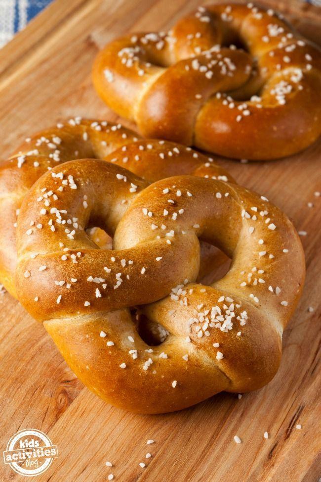 A simple soft pretzel recipe that even kids can help make.